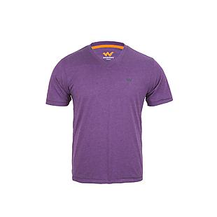 Wildcraft Men V Neck Crew T Shirt - Purple Melange